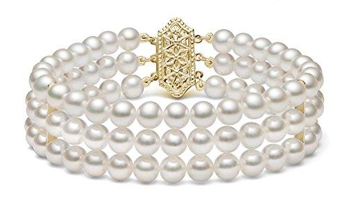 14K Or jaune triple brins Blanc japonais Bracelet Perle de culture Akoya, 20,3cm