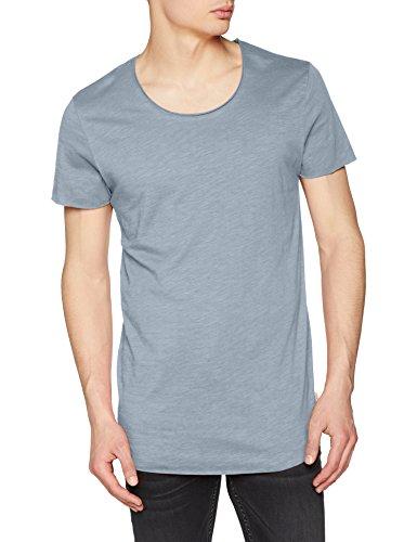 JACK & JONES Herren T-Shirt Jjebas Tee SS U-Neck Noos, Blau (Faded Denim Detail: Reg Fit), X-Large