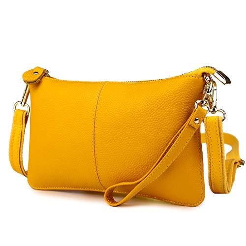 Mynos - Bolso cruzados de piel auténtica para mujer amarillo amarillo
