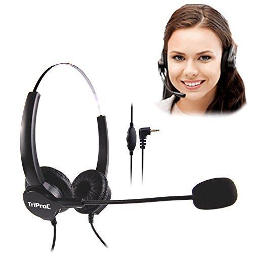 TriProC Binaural Dc 2.5Mm Telefon-Headset Für Festnetztelefonie, Kompatibel Für Jabra Cisco Polycom Panasonic Binaural -
