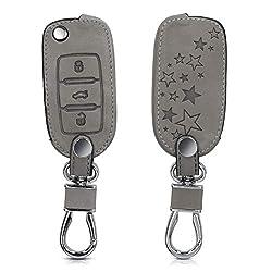 kwmobile Autoschlüssel Hülle für VW Skoda Seat - Nubuklederoptik - Kunstleder Schutzhülle Schlüsselhülle Cover für VW Skoda Seat 3-Tasten Autoschlüssel - Sternenmix Design Grau
