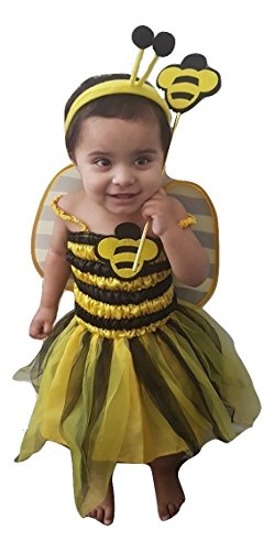 Kostüm Fancy Dress Bee - Momo&Ayat Fashions Mädchen Kinder Kleinkind Biene Gelb Schwarz Fancy Dress Tutu Bopper Wand Leotard Catsuit -Mix & Match Outfit (Unter 4 Jahren, Kleinkind Kostüm)