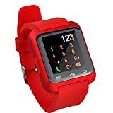megadream Bluetooth 4.0Low Energy Smart Armbanduhr Wasserdicht Armbanduhr Telefon mit Kamera Touch- und PU Lederband Band Smartwatch für Android System Sync WHATSAPP Facebook Schrittzähler und für iPh (Teil-Funktionen)–Golden