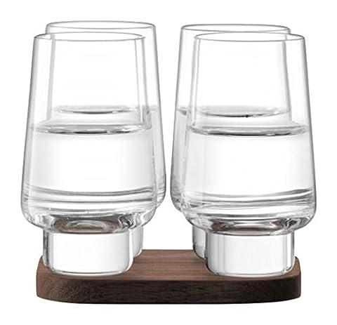LSA International City Bar Vodka Glass with Walnut Coaster, Glass, Clear, 70 ml, Set of 4