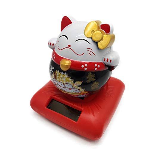 Godya Glück Glück Reichtum begrüßen Katzenspielzeug, umweltfreundliche solarbetriebene süße Katze Kopf schütteln Auto Innen Armaturenbrett Ornament, entzückende Home Decor Business Geschenk Charming