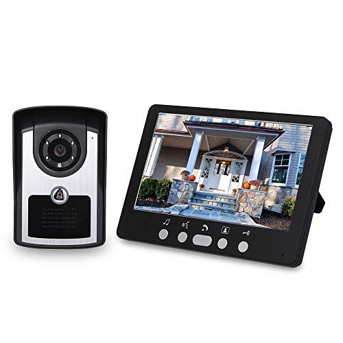 OWSOO 7'' Videoportero Cableado, Cámara Impermeable + LCD Monitor, Soporta Desbloqueo de Remoto, Visión Nocturna, Audio Bidireccional, Intercomunicador Manos Libres