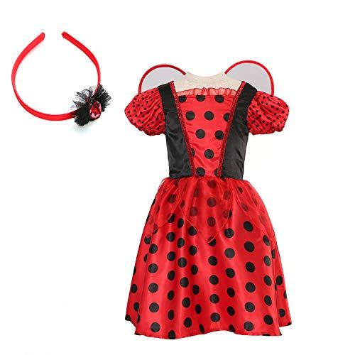 Sincere Party Mädchen Halloween-Kostüm Marienkäfer, Marienkäfer-Kostüm, Kostüm, in Größe 3-4,5-6,7-8 (Pet Marienkäfer Kostüm)