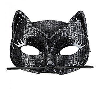 Generique - Schwarze Katzen Augenmaske mit Pailletten für ()