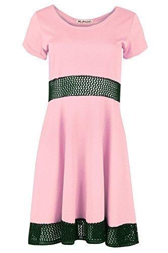Damen Flügelärmel Hüfte Strick Net Mittellang Skater Midi Kleid Übergröße Rose - Baby Pink