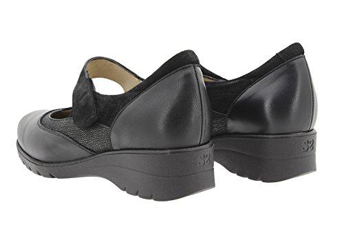 Chaussure femme confort en cuir Piesanto 9957 Mary Jean confortables amples Noir