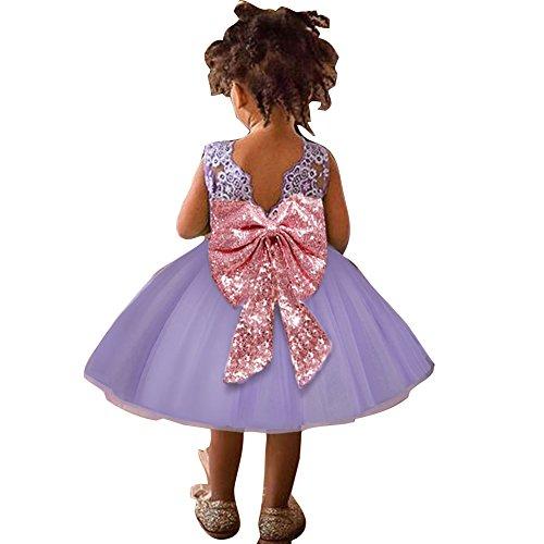 Baby Mädchen Bowknot Spitze Prinzessin Rock Sommer Sequins Kleider für Baby Kleinkinder Kinder 0-5 Jahre alt Lila/120cm