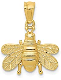 14k Yellow Gold Bee Pendant Charm Necklace Insect Fine Jewelry For Women Gift Set
