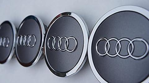 West Lot de 4 cabochons de jante Audi 70mm Gris