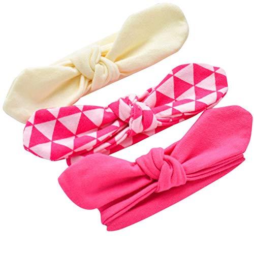 COUXILY 3 Stück Baby Mädchen Stirnband 100% Baumwolle Haarband mit Bogen für 0-24 Monaten (B07) - 2 Stück Stirnband