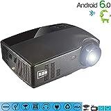 C-TK Tragbarer HD 1080pLED-Projektor, 3500 Lumen Niedrigeräusche WiFi-Anschlusssync Telefon-Bildschirm Android 6.0 Bluetooth 4.0, kann das Internet zugreifen, Spiele Spielen, 3D-Filme