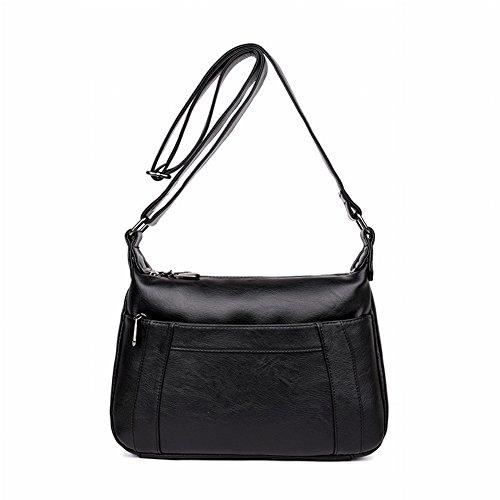 Preisvergleich Produktbild Weibliche Mama Tasche Multi-Tier Crescent Moon Tasche Einfache Allgleiches Leder Schulter Messenger Bag , schwarz