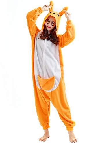 Kigurumi pigiama animali adulto unisex pigiama party halloween sleepwear cosplay costume onesie, canguro