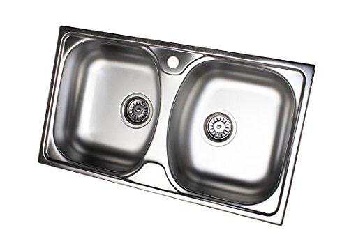 Edelstahl Küchenspüle Edelstahlspüle Einbauspüle Spüle 2 Spülbecken Doppelbecken 44cm x 78cm