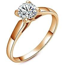 Yoursfs - Anello di fidanzamento semplice, con quattro griffe, fascia placcata in oro 18k, con (Verde Diamante Solitario Anello)