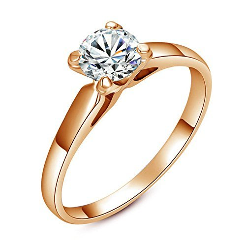 Yoursfs semplice classica a quattro poli 18k placcato oro band con 1ct diamante simulate anelli di fidanzamento