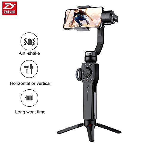 Zhiyun Smooth 4 Handhelp Gimbal Estabilizador de 3 ejes para Ai función de disparo para iPhone & Android Smartphone nacido para funda para cineastas, negro