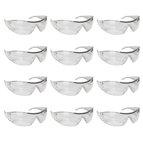 Pack 12 Gafas de Seguridad Transparentes por Kurtzy - Gafas Protección Ojos con Lentes Plástico Transparente - Set en Lote - Ajuste Cómodo
