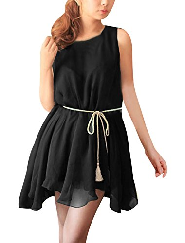 Femme sans manches à col rond avec robe en mousseline avec ceinture détachable Noir - Noir