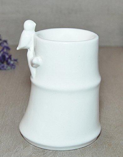 Aromalampe Duftlampe Bambou aus Keramik weiß 12 cm