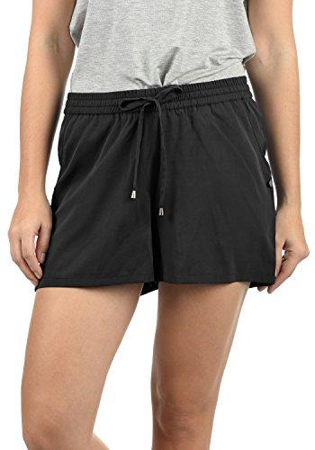 BlendShe Amal Damen Chino Shorts Bermuda Kurze Hose Mit Print Und Kordel Loose Fit, Größe:L, Farbe:Black Solid (20101)
