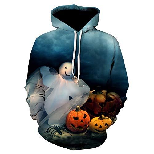 LOPILY Halloween Kostüme Unisex Kürbis Sweatshirts Halloween Gruselige Skelett Sweatshirt 3D Kapuzenhoodie Ärger Kürbis Printed Pullover Damen Halloween Party Shirt mit Fledermaus (Mehrfarbig, 42)