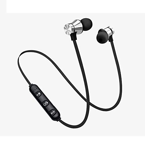 Mumuj Bluetooth Sport in-Ear Kopfhörer, V4.2 IPX5 Schweißresistent Stereo Sport Ohrhörer mit 10 Meter Reichweite, eingebautes Mikrofon für iPhone, Huawei und Samsung mit Kopfhörer Tasche (Silber) -