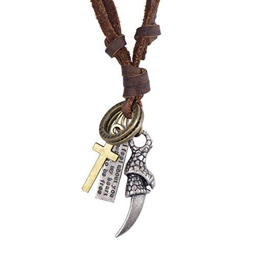 Fengteng Vintage Herren Halskette, Kreuz Dolch Messer Anhänger, Punk Männer Waffe Dolch Stammes...