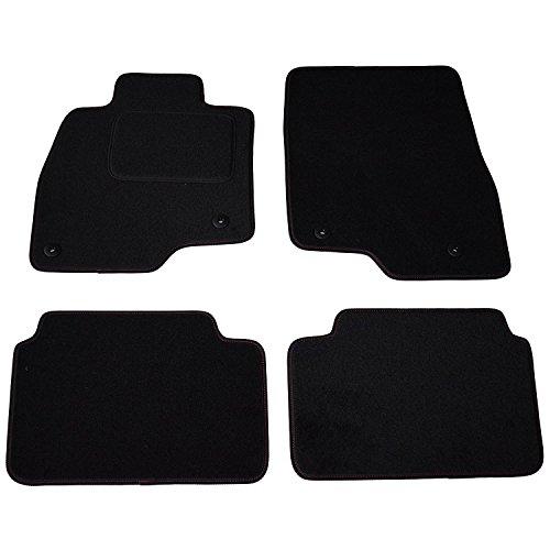 AME - Auto-Fußmatten Premium Velours mit roter Sichtnaht und Befestigungen 2857PN