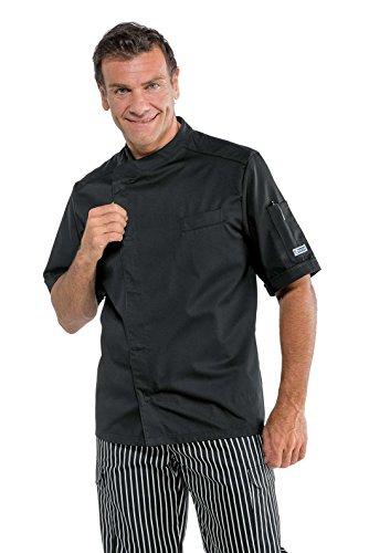 Isacco - Veste Cuisinier Bilbao Noir Polycoton Nero 65% Poliestere 35% Cotone Mezza Manica