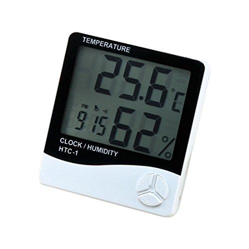 Rymall Igrometro Termometro Digitale Termoigrometro LCD Misura Temperatura & Umidità per Interno, Serra, Car (Bianco e Nero)