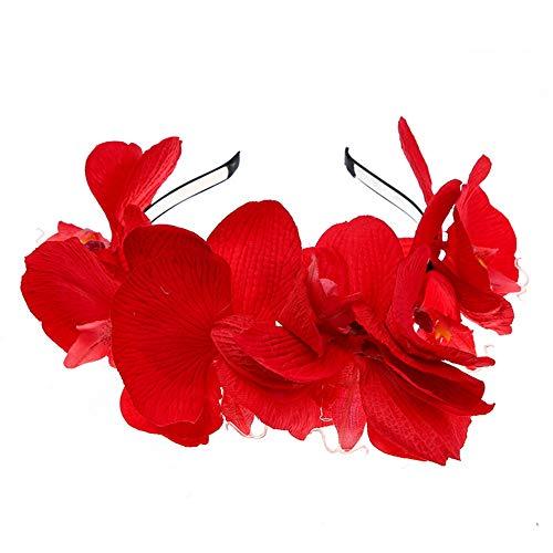 Yazilind Tuch Butterfly Flower Headband Performance Stirnband für Erwachsene und Kinder Zubehör Rot -