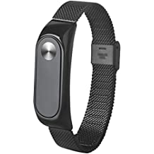 Para Xiaomi MI Banda 2, DoraMe Moda de acero inoxidable ligero correa de reloj (Negro)