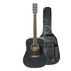 """Luis Guitars by Acandoo Westerngitarre 4/4 acoustic matt schwarz 41"""" mit gepolsterter Tasche/GigBag 5mm"""
