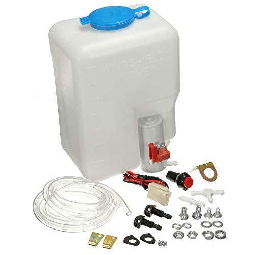 Monllack 12V Universal Classic Car Scheibenwaschanlage Vorratsbehälter Pumpe Flasche Kit Jet Schalter Clean Tool Einfach und bequem zu bedienen