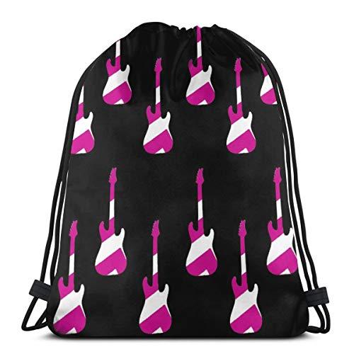 Striped Guitars Pink_306 Drawstring Rucksack Rucksack Schultertaschen Leichte Sporttasche zum Wandern Yoga Gym Schwimmen Travel Beach