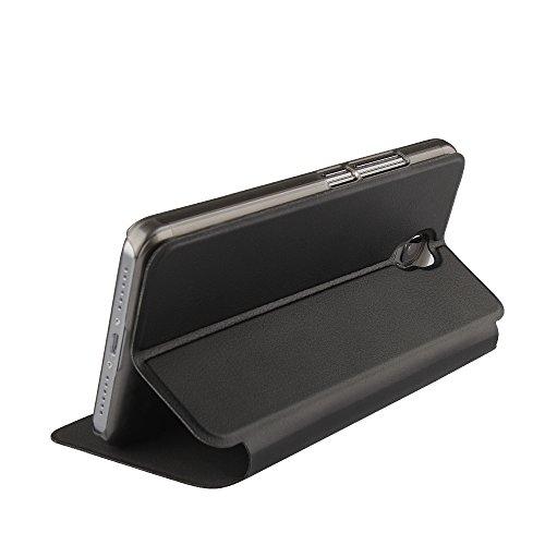 Oukitel K6000 Plus Case Hülle 2 in 1 Flip Hülle Handysocken Schutzhülle Standfunktion Tasche und - Beschützer Smartphone (Schwarz)