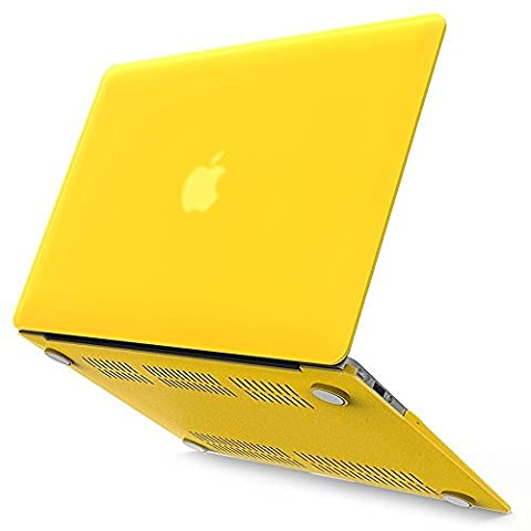 iBenzer - Soft-Skin Smooth Finish Plastic Hard Case Cover for Macbook Air 13.3'' (A1466/A1369) NO CD ROM, Yellow