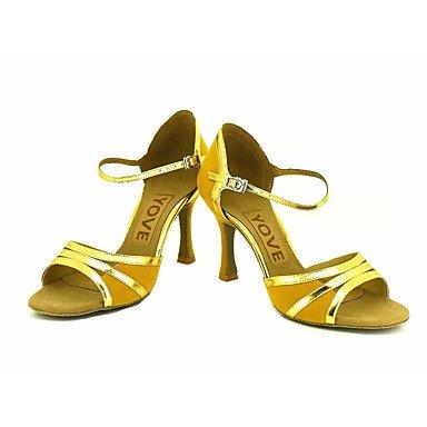 Scarpe da ballo-Personalizzabile-Da donna-Balli latino-americani / Salsa-Tacco su misura-Scamosciato-Nero / Giallo / Rosso Black
