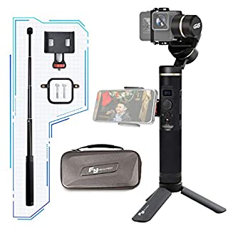Feiyu G6 3-Axis Splash-proof Handheld Action Camera Gimbal Stabilizer, Compatible with GoPro Hero Series/Sony RX0 / Yi 4K / AEE, Come with Extension Pole, Side Clamp