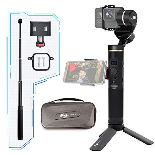 Feiyu FeiyuTech G6 3-Achsen-Handheld Action Cam Gimbal Stabilisator für GoPro Hero Serie/Sony RX0/ Yi 4k/ AEE,Wasserdicht und Stoßfest mit Verlängerungsstange und Seitlicher Halterung