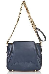 italienische Damen Umhängetasche Turin aus echtem Leder in dunkel blau, Made in Italy, Handtasche 22x18cm