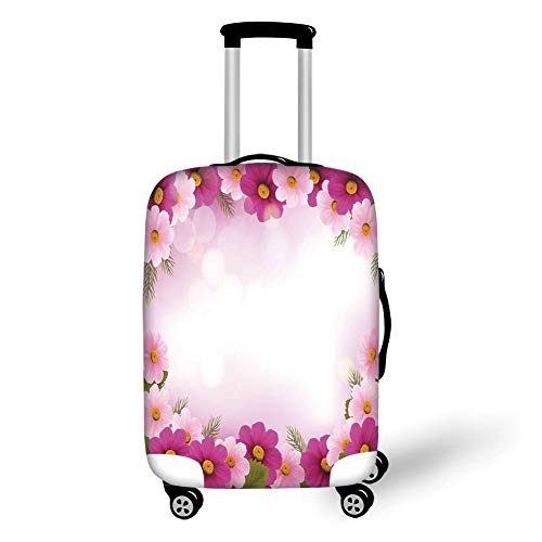 Travel Luggage Cover Suitcase Protector,Pink,Framework with Romantic Daisies Valentines Day Decor Celebration Theme,Pink Light Pink Green,for TravelXL 29.9x39.7Inch -