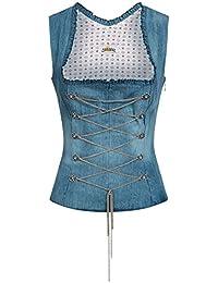 Almsach - Damen Jeans 100% Baumwolle Trachten Mieder Corsage Blau