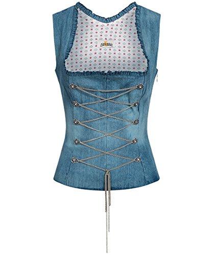 Almsach - Damen Jeans 100% Baumwolle Trachten Mieder Corsage Blau - 42