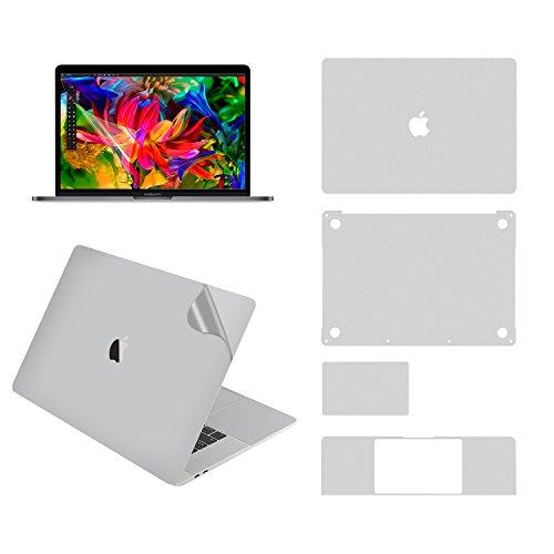 Lention Ganzkörper-Aufkleber für MacBook Pro (15-Zoll, 2016-2019, mit Thunderbolt 3), Vollschutzfolie für Vinyl-Aufkleber (Ober-/Unterseite/Touchpad/Handballenauflage)+Displayschutz (Silber) (Macbook Computer Skins Pro)